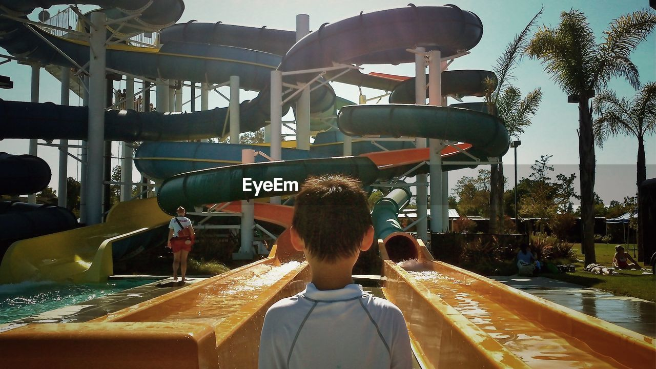 View of water slides in amusement park