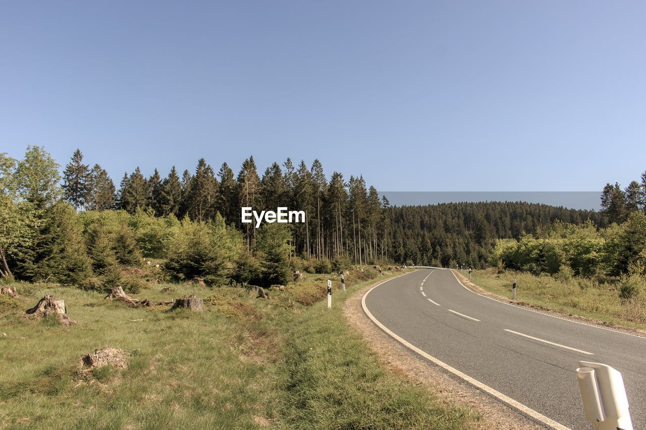 Panoramic View Of Road Amidst Trees Against Clear Sky