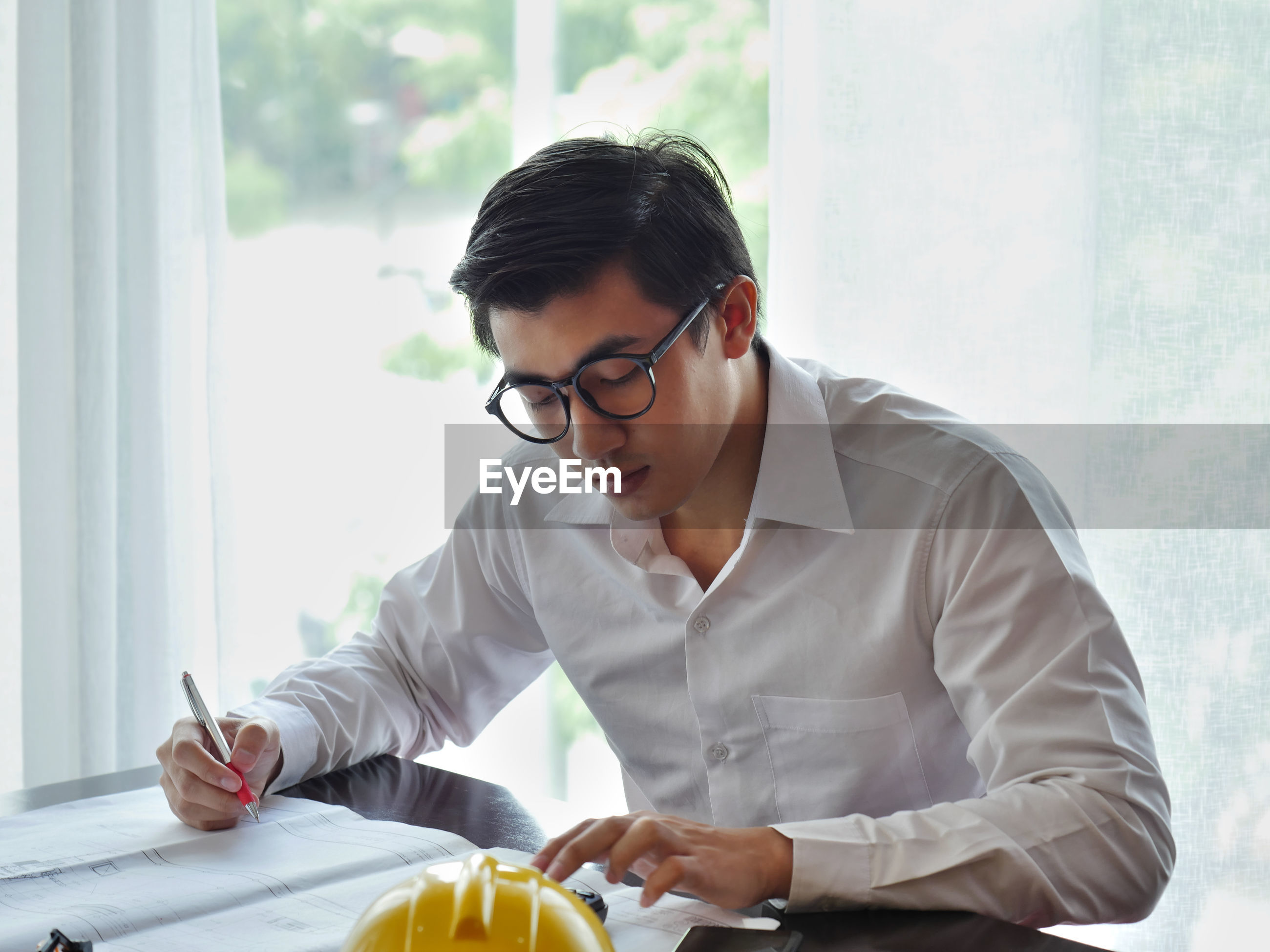 Architect working at office