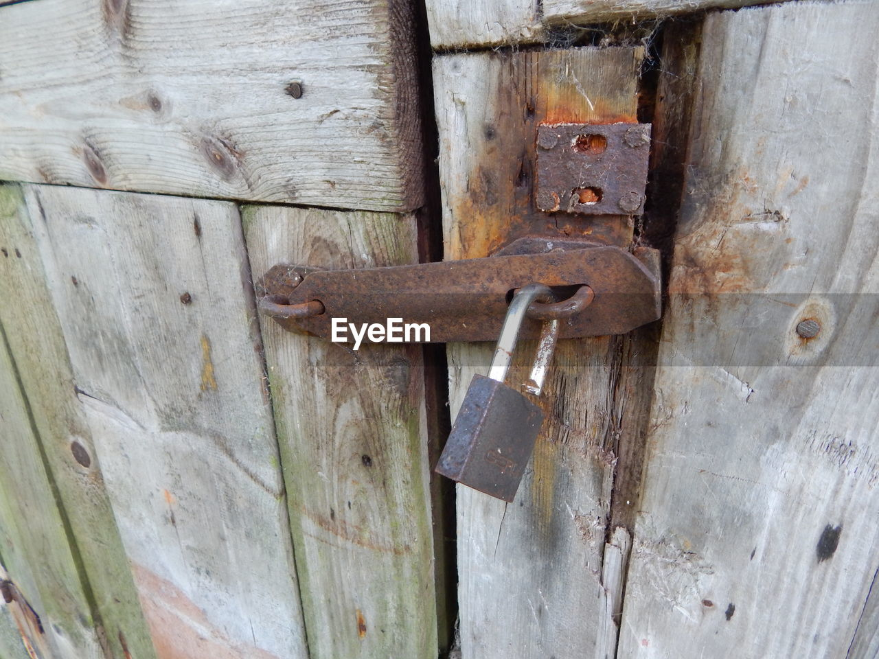 lock, wood - material, door, entrance, metal, padlock, safety, close-up, protection, security, no people, closed, latch, backgrounds, day, old, outdoors, full frame, rusty, detail