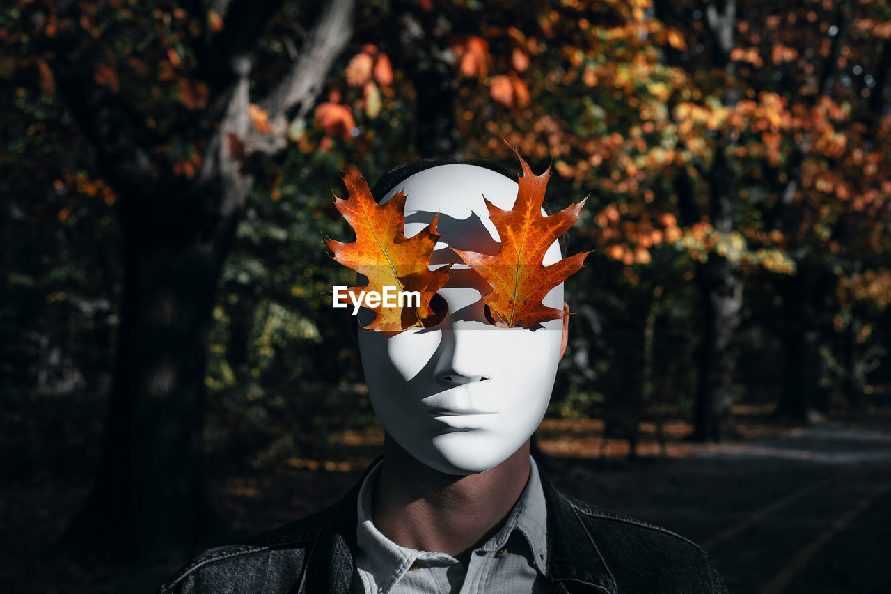 Person Wearing Mask With Maple Leaf