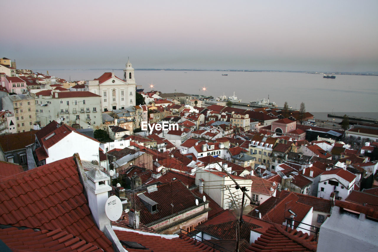 High Angle View Of Houses In Lisbon