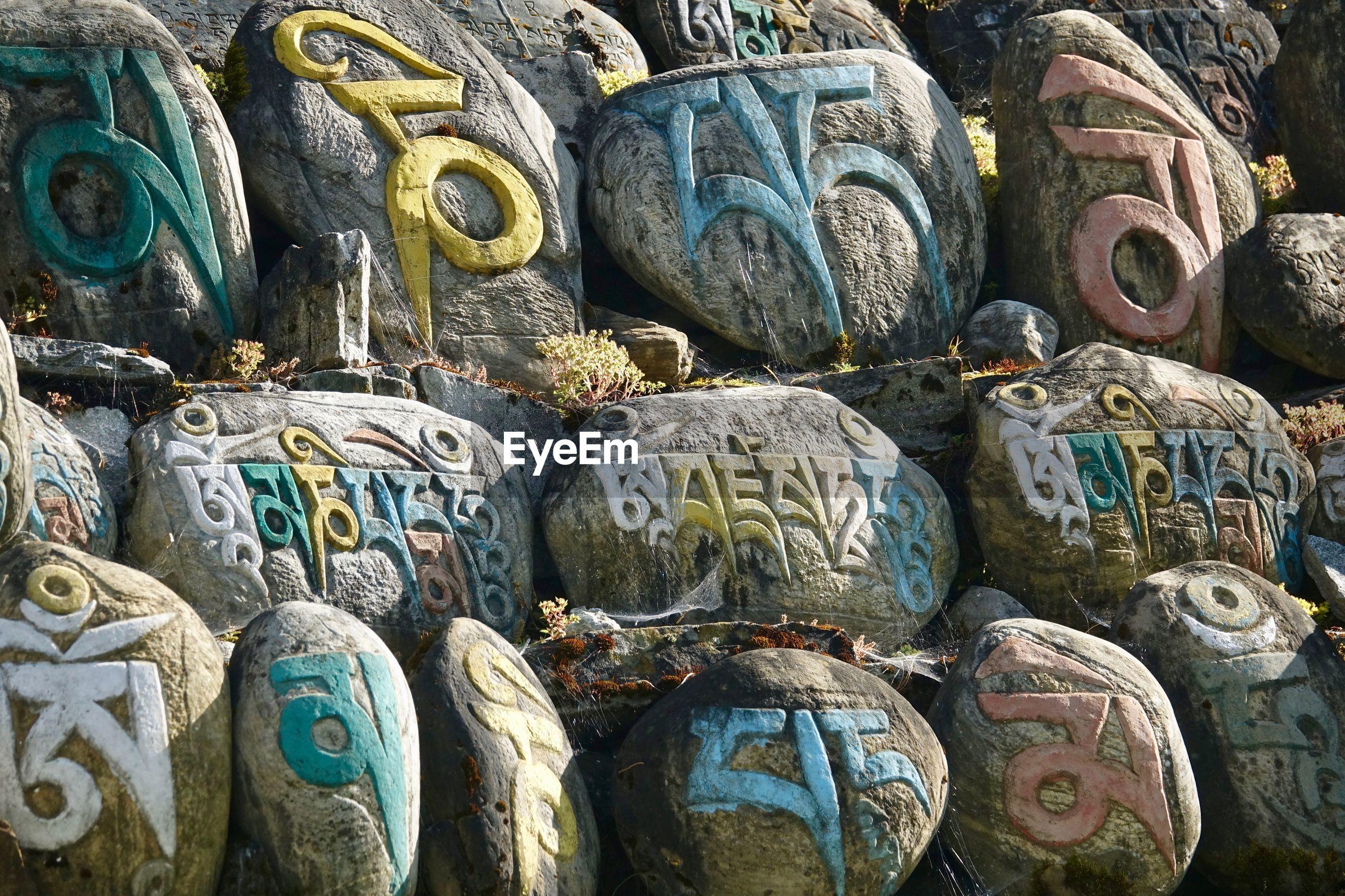 Full frame shot of text on rocks