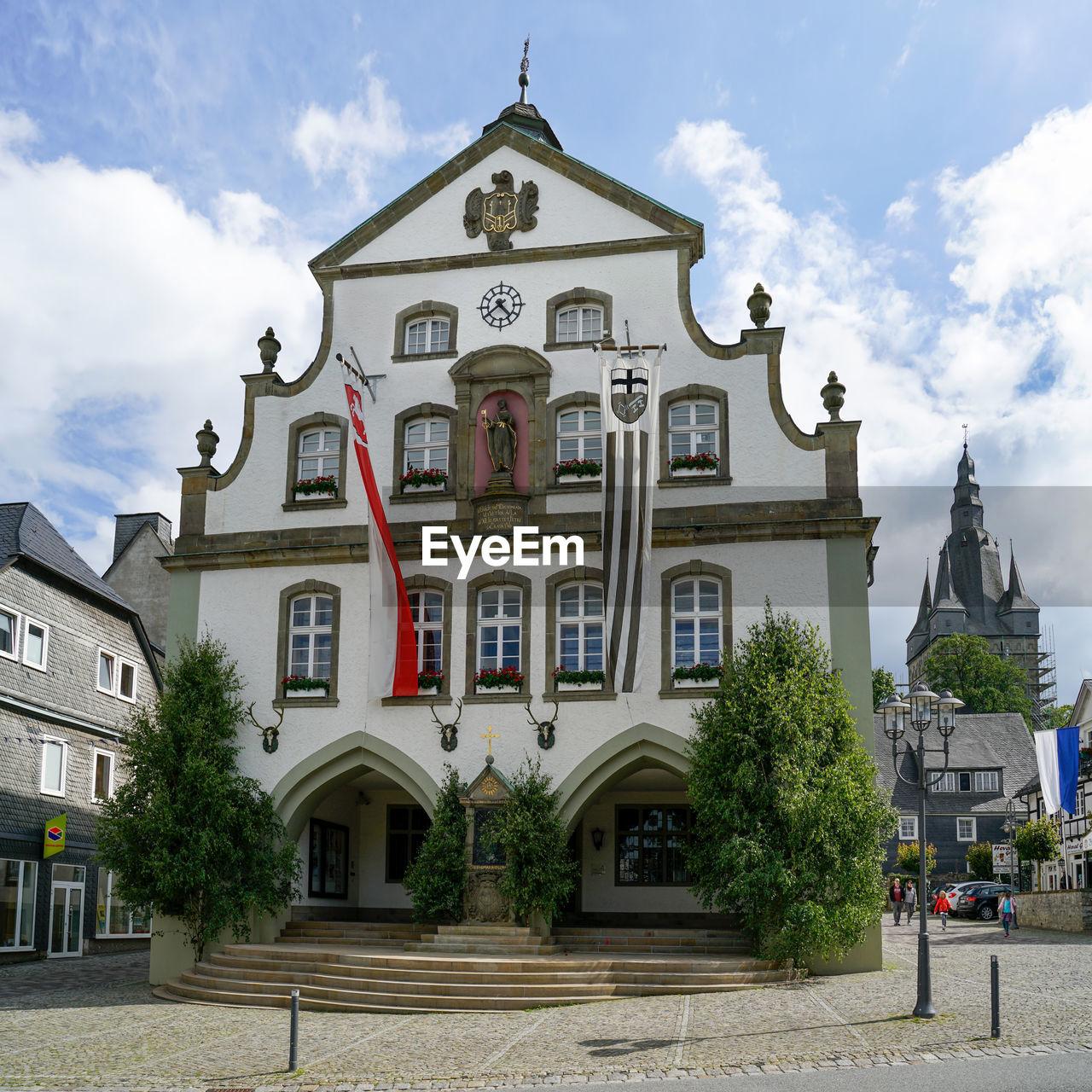 Brilon, north rhine westphalia germany  june 2018 brilon city hall decorated with flags.
