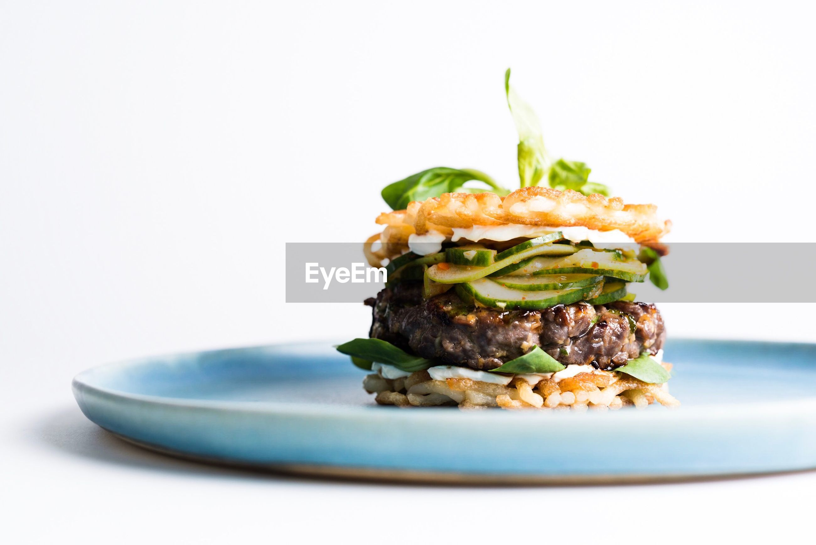 Close-up of food served in plate against white background