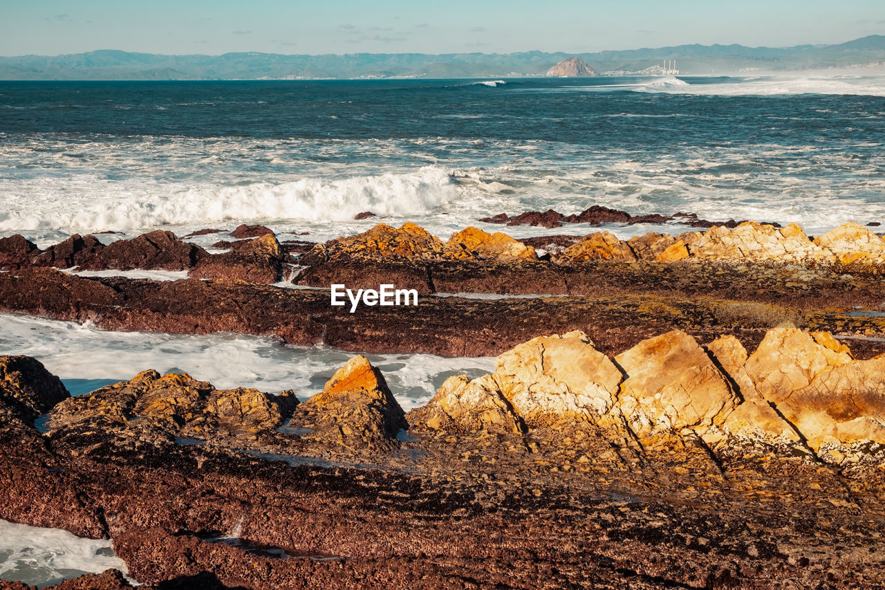 sea, water, rock, land, rock - object, solid, beach, scenics - nature, beauty in nature, wave, nature, motion, sky, no people, rock formation, day, tranquility, tranquil scene, horizon over water, outdoors, power in nature, breaking, eroded, rocky coastline