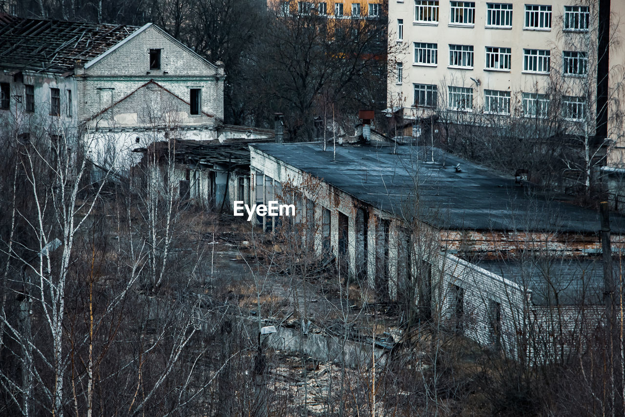 View of the gloomy abandoned buildings of the old factory