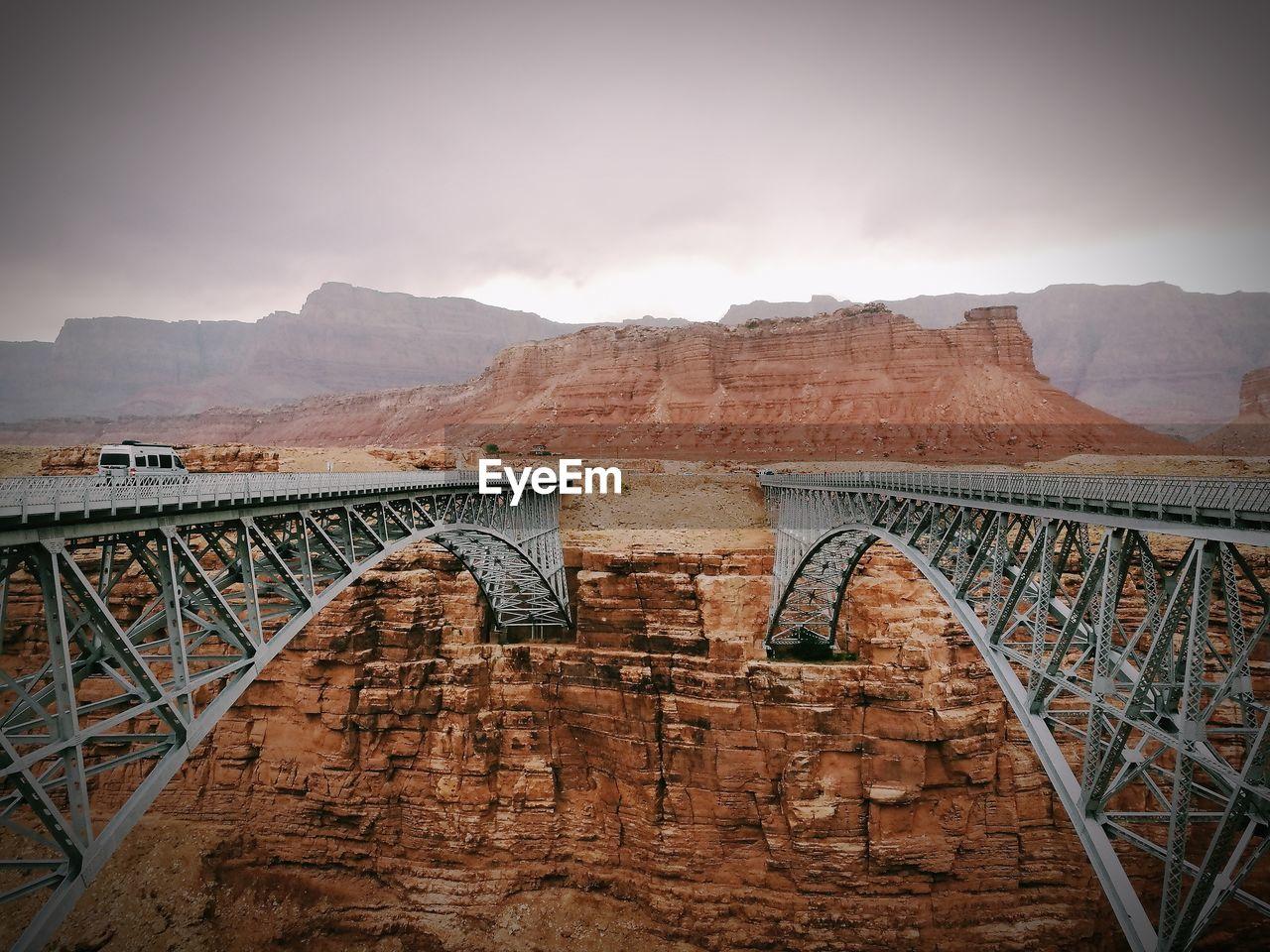 Navajo bridge in stormy day