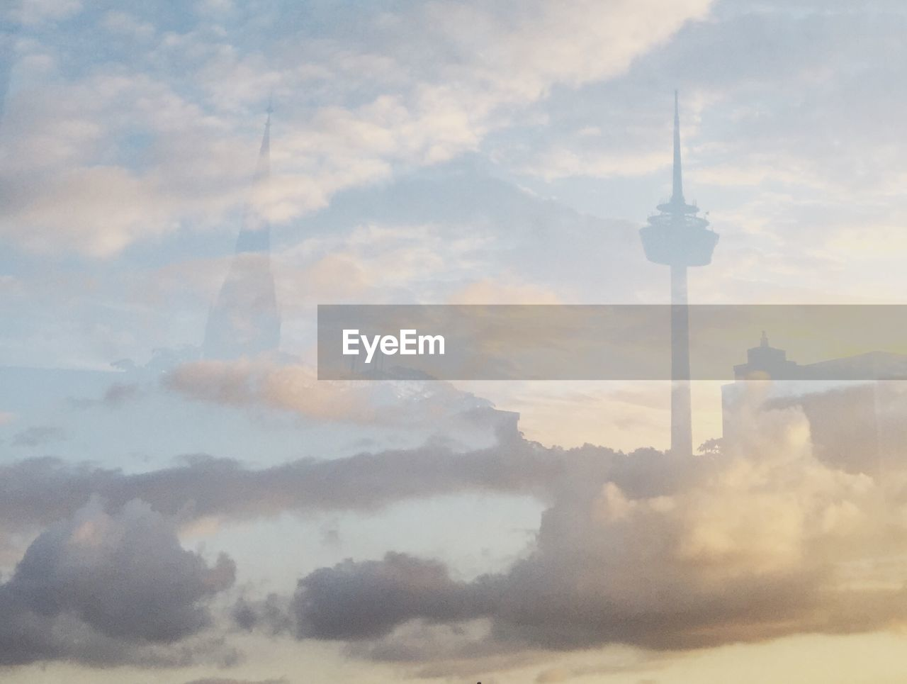 cloud - sky, sky, architecture, built structure, tower, building exterior, tall - high, building, no people, communication, spire, travel destinations, travel, nature, city, fog, tourism, sphere, outdoors, global communications, skyscraper, office building exterior