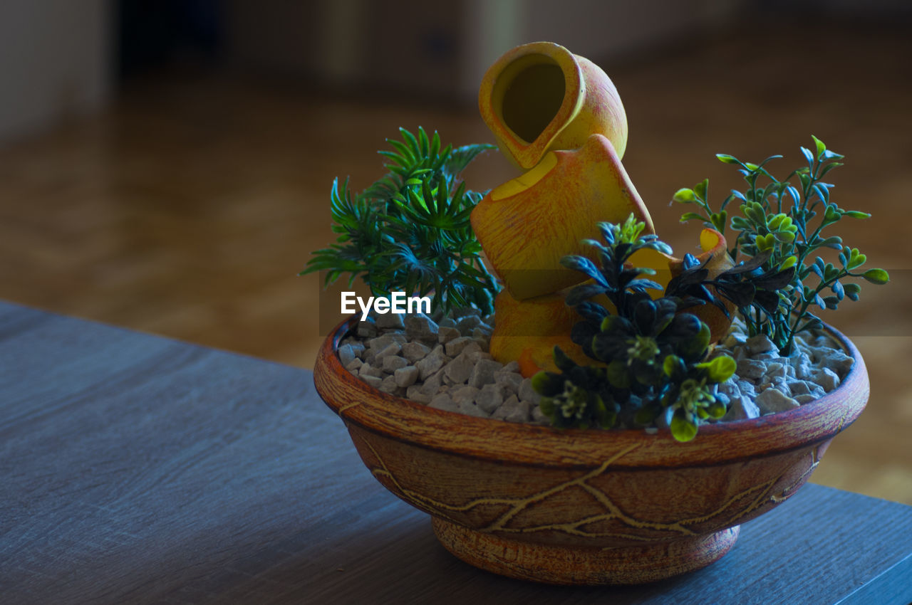 table, potted plant, no people, wood - material, close-up, food and drink, still life, indoors, focus on foreground, plant, food, container, freshness, flower, nature, growth, green color, day, high angle view, art and craft, flower pot