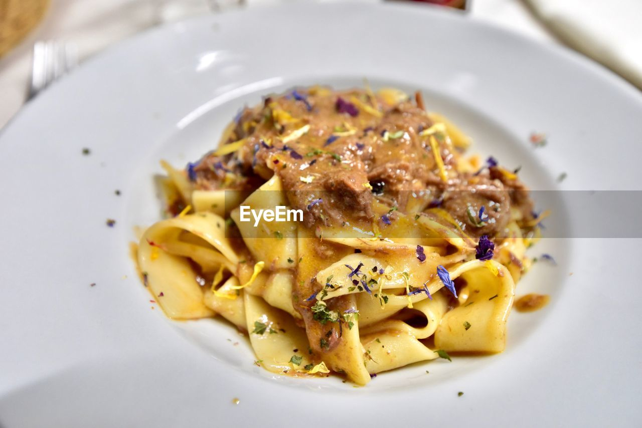food and drink, food, plate, pasta, ready-to-eat, freshness, italian food, serving size, close-up, indoors, wellbeing, healthy eating, still life, high angle view, no people, garnish, indulgence, meal, table, temptation, spaghetti, crockery
