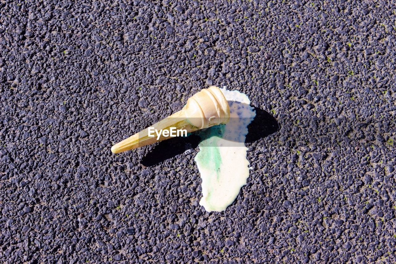 Close-Up Of Ice Cream Cone On Ground