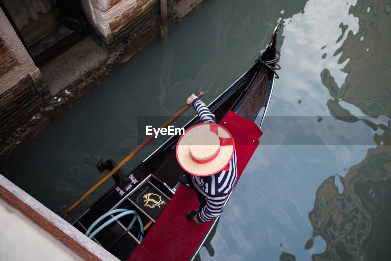 High Angle View Of Person On Boat