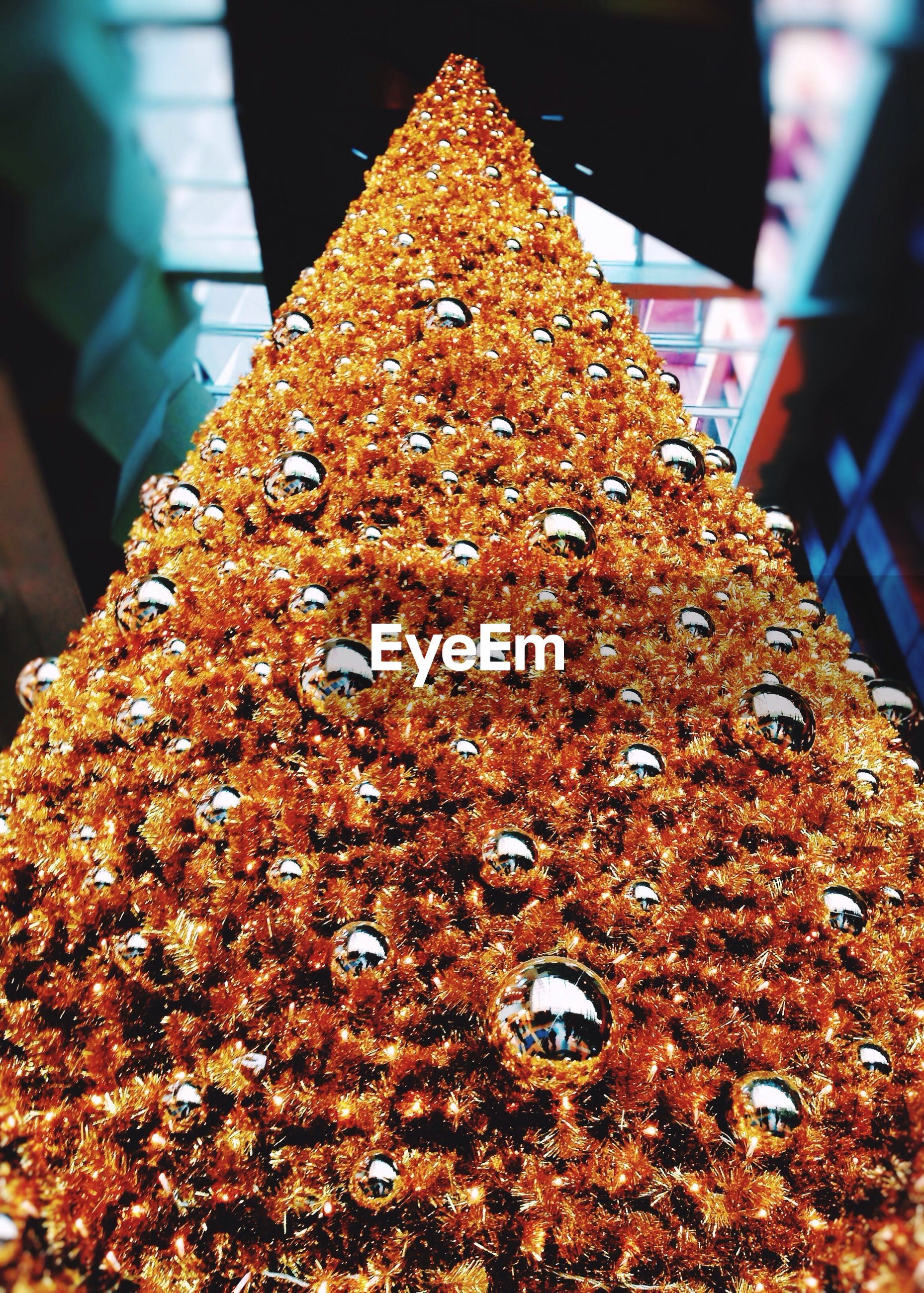 Low angle view of decorated christmas tree