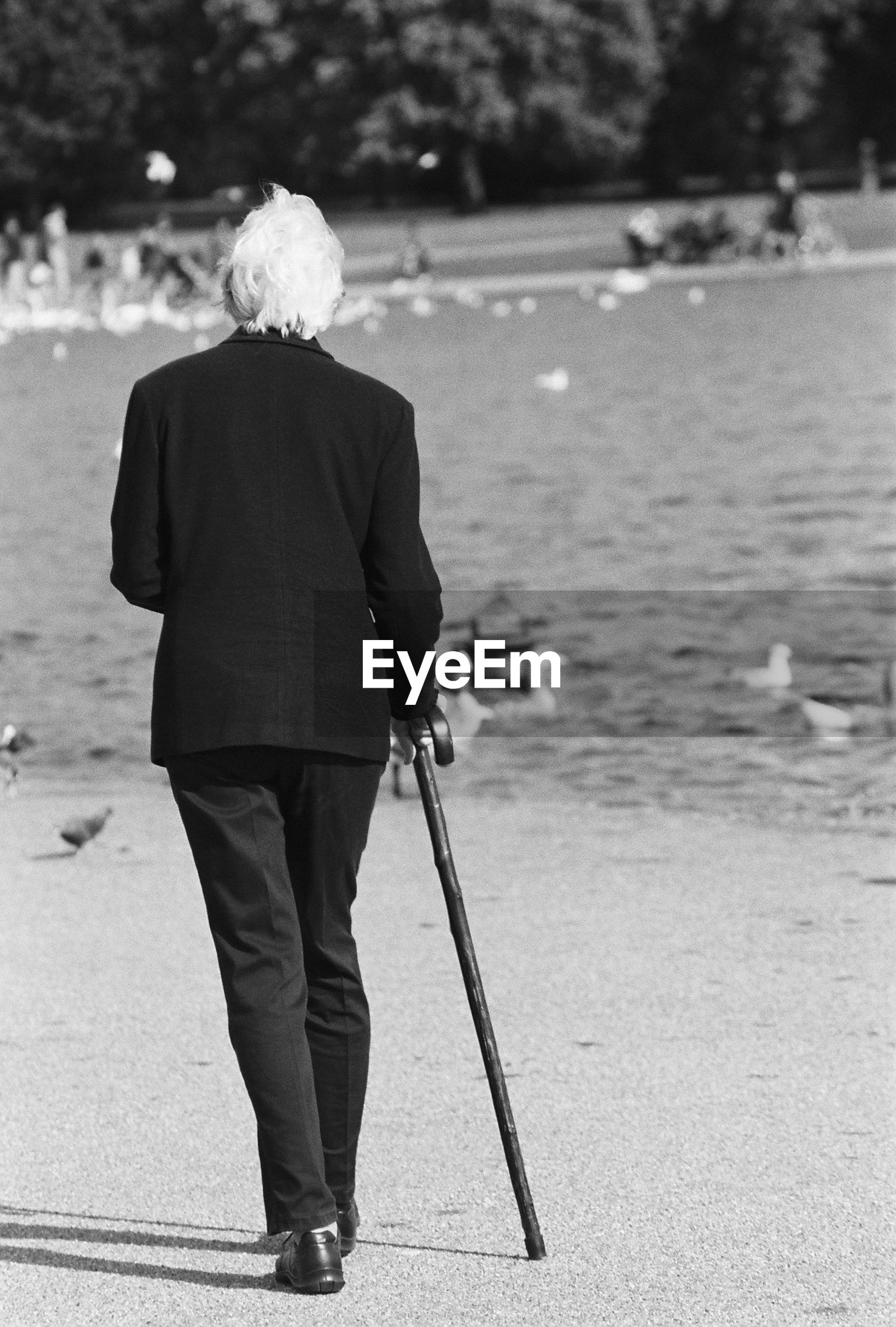 Rear view of senior man walking on lakeshore