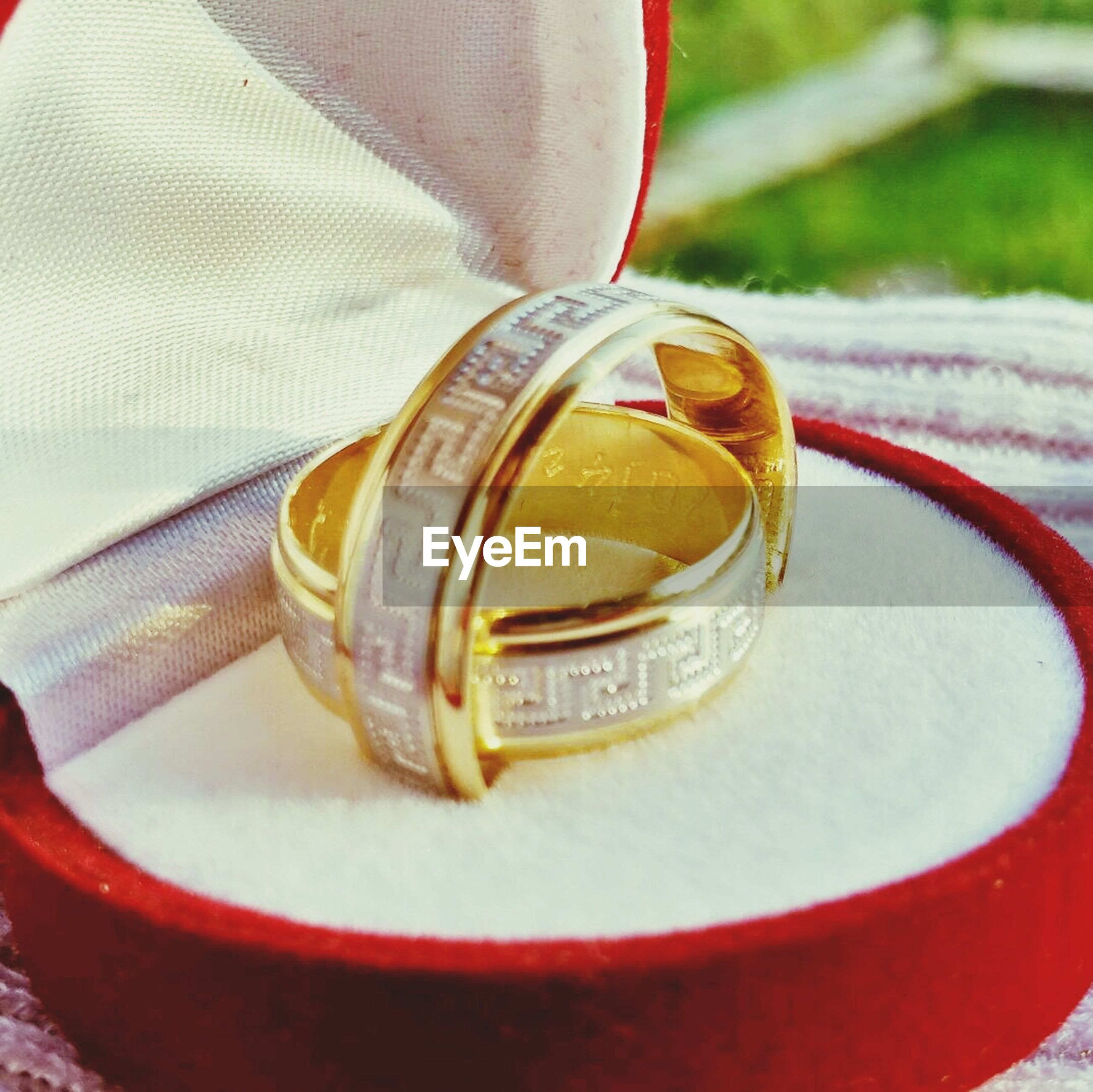 Close-up of wedding ring in box