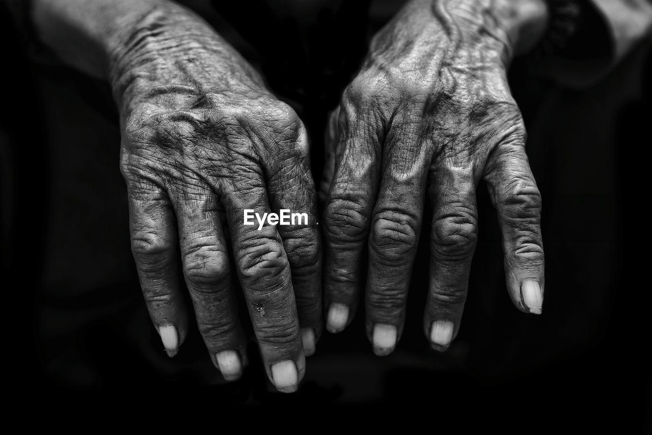 Close-Up Of Wrinkled Hands