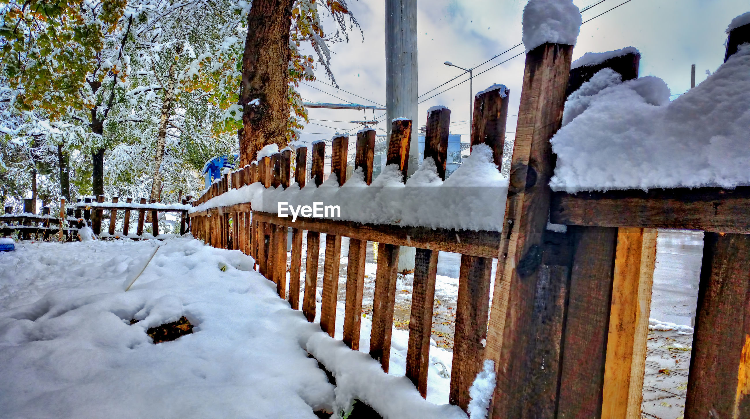 Snow covered fence at yard