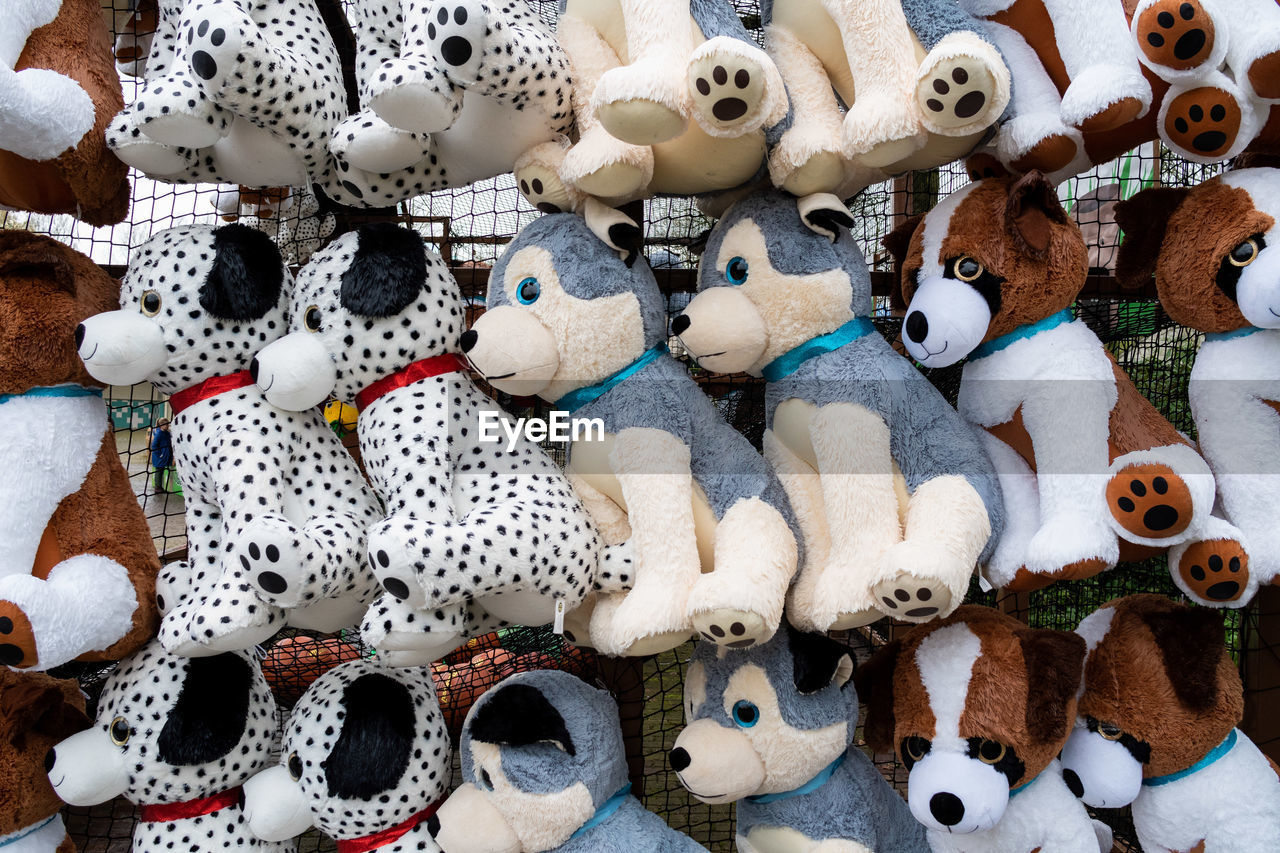 Full frame shot of toy animals for sale at market