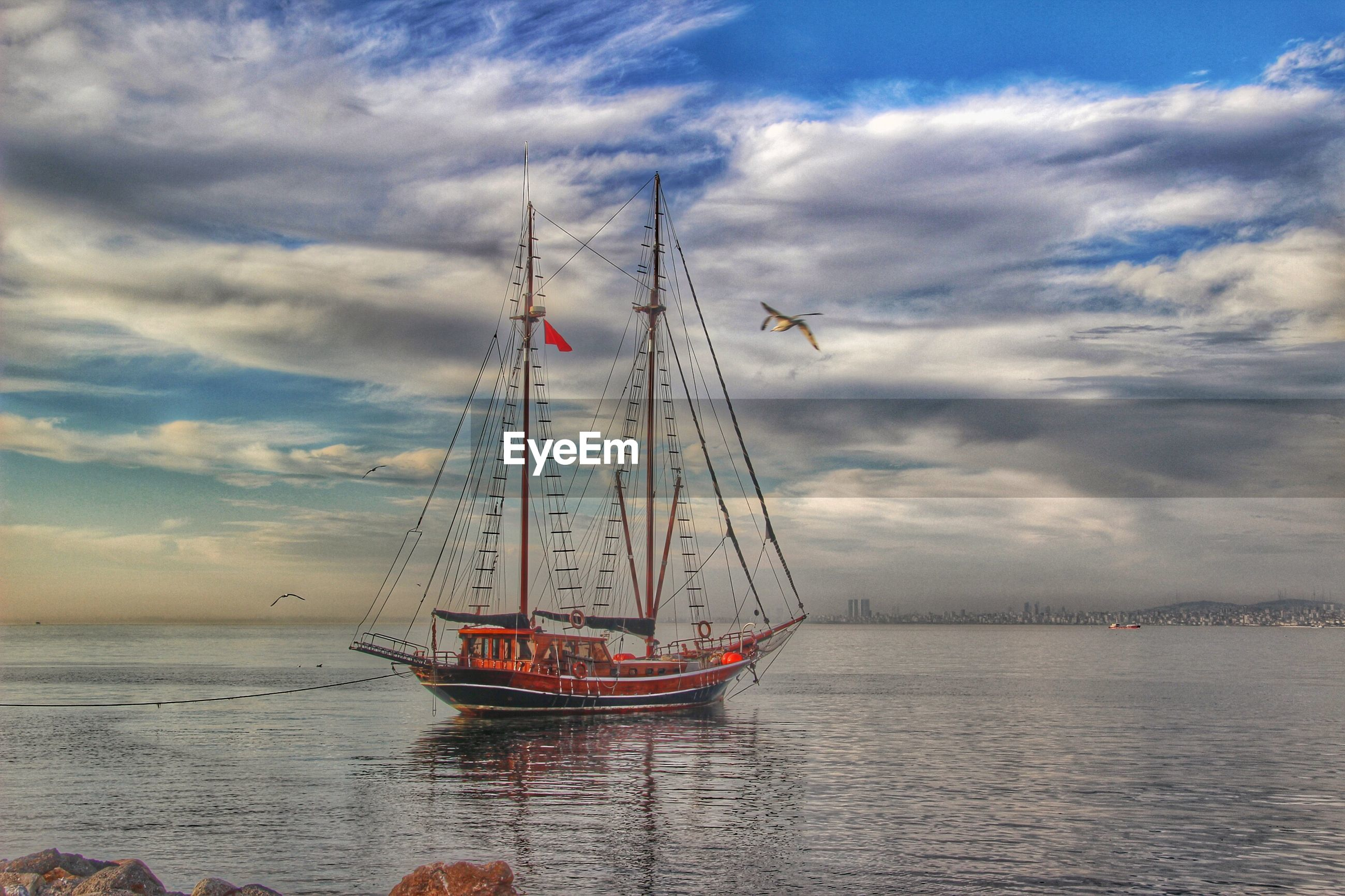 sea, sky, water, nautical vessel, transportation, cloud - sky, mast, mode of transport, cloudy, sailboat, boat, waterfront, horizon over water, cloud, nature, harbor, outdoors, travel, scenics, tranquility