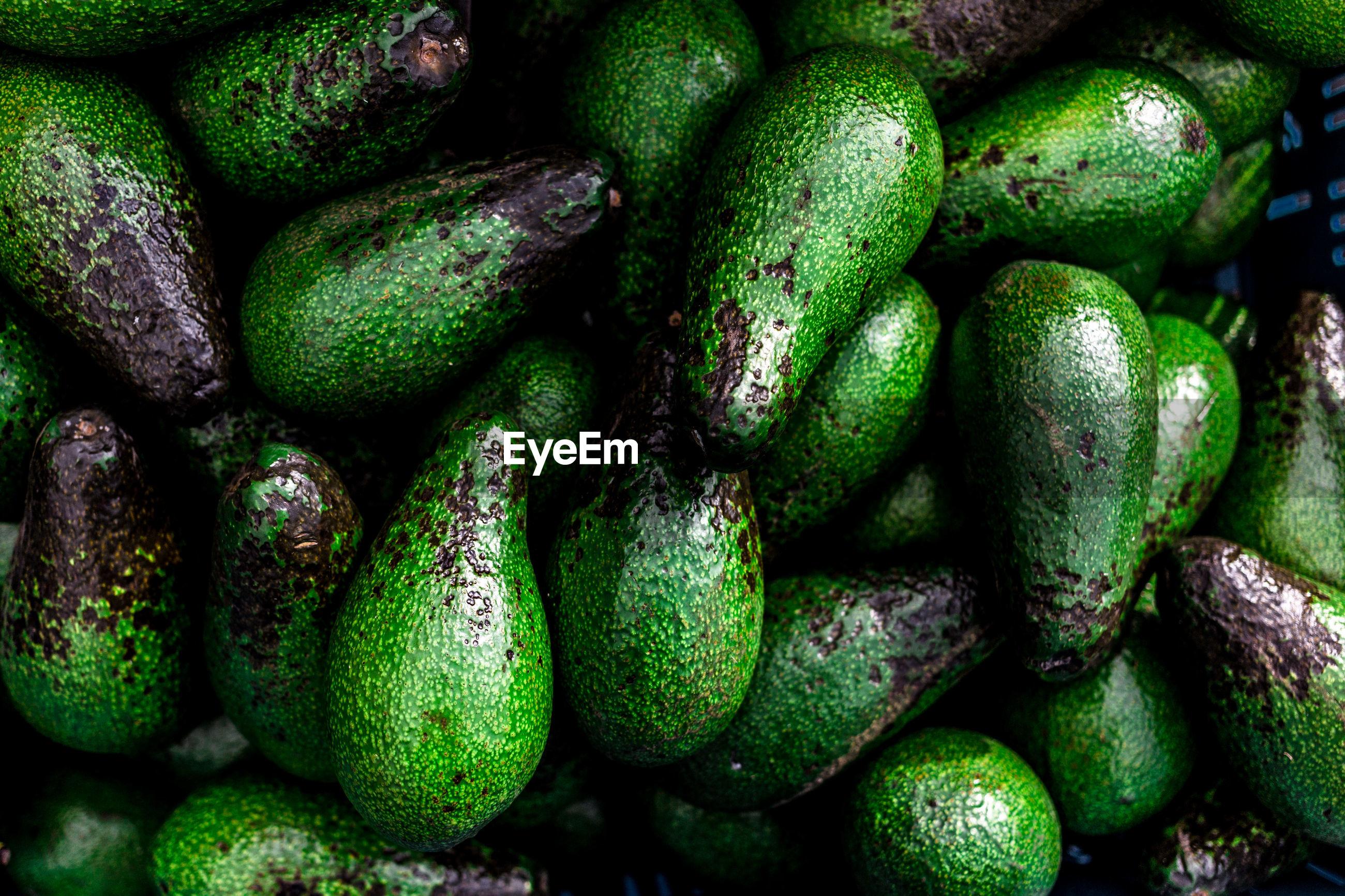 Full frame shot of avocados for sale at market
