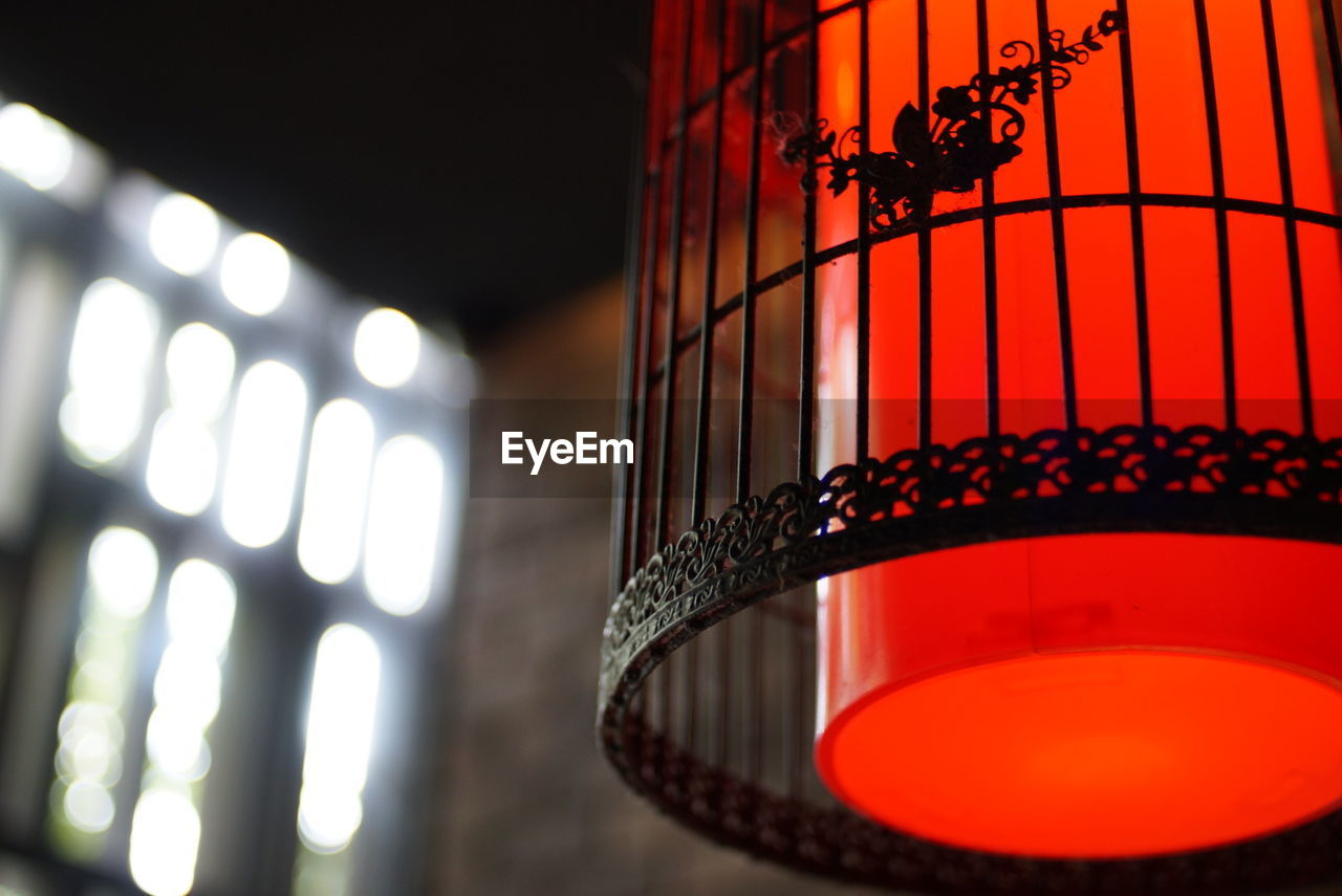 Close-up of red lamp