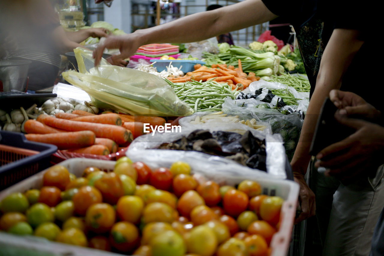 Vegetables on display at market stall