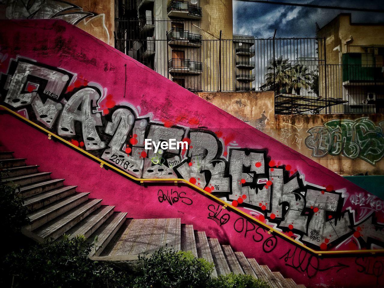 CLOSE UP OF GRAFFITI ON WALL