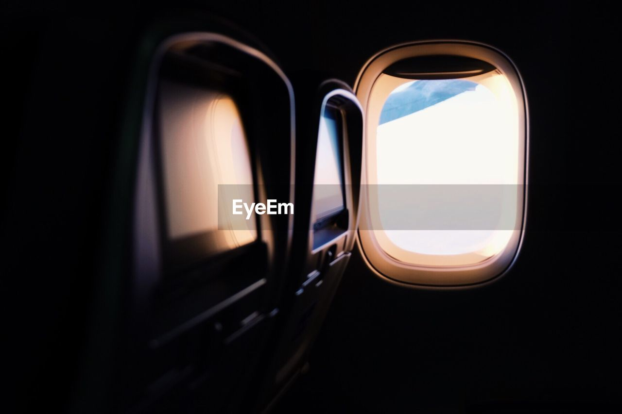 Close-up of airplane interior