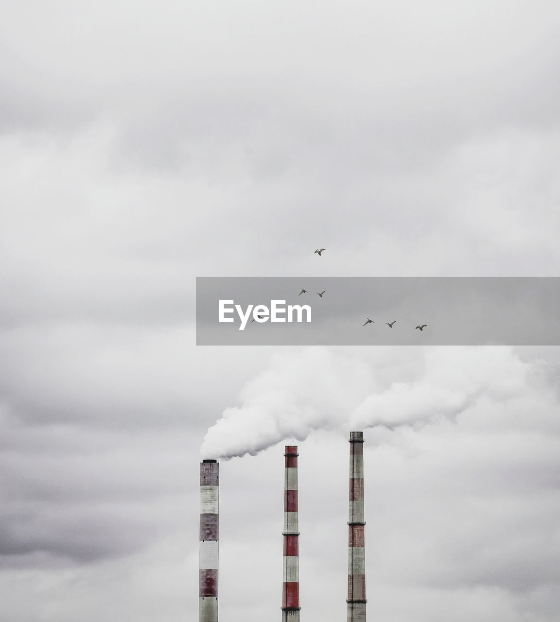 Birds Flying Over Smoke Emitting Chimneys Against Cloudy Sky