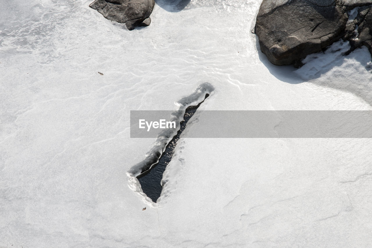 High Angle View Of Frozen Ice