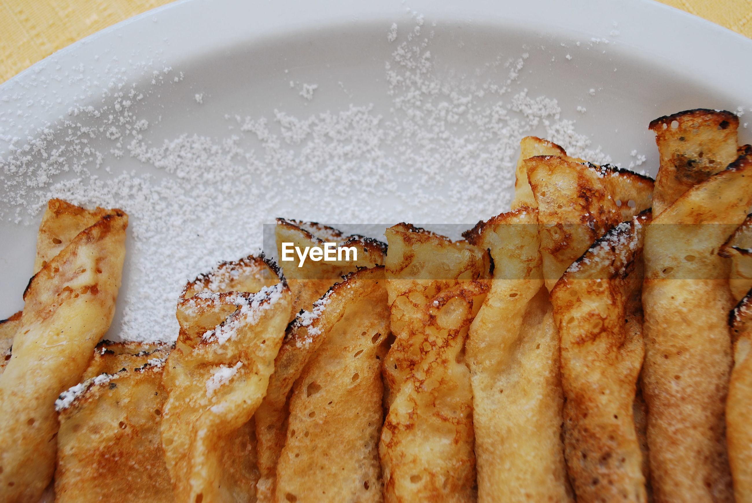 High angle view of crepes on plate