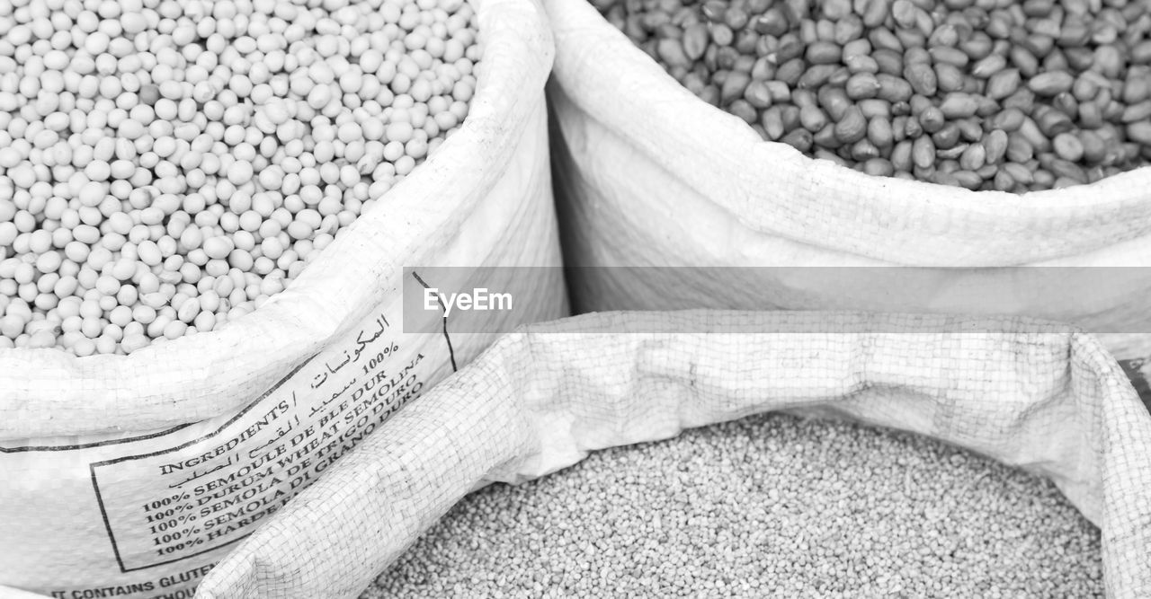 food and drink, food, wellbeing, healthy eating, sack, no people, raw food, freshness, plant, close-up, market, organic, white color, bag, abundance, dried food, large group of objects, ingredient, indoors, still life, legume family