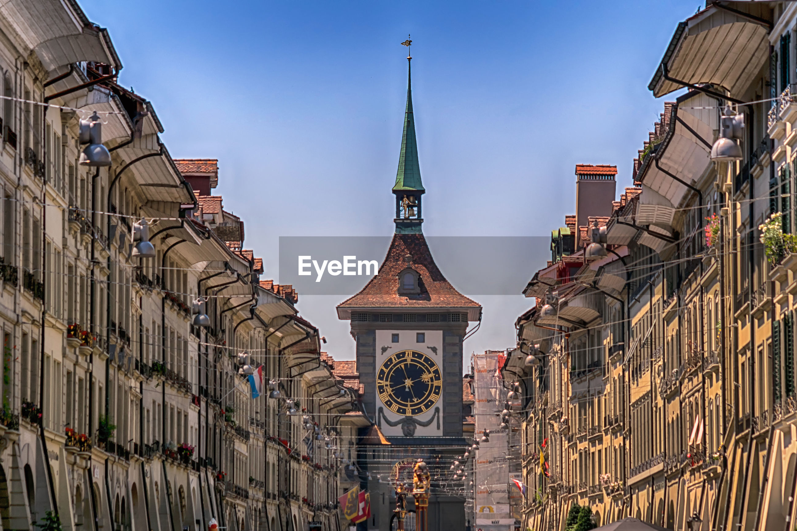 Low angle view of buildings against sky in bern, switzerland