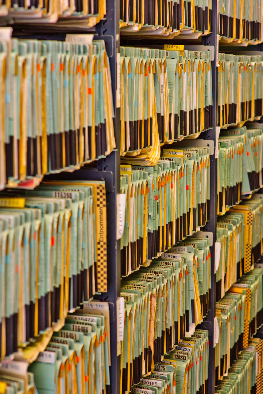 Full Frame Shot Of Records In Shelves