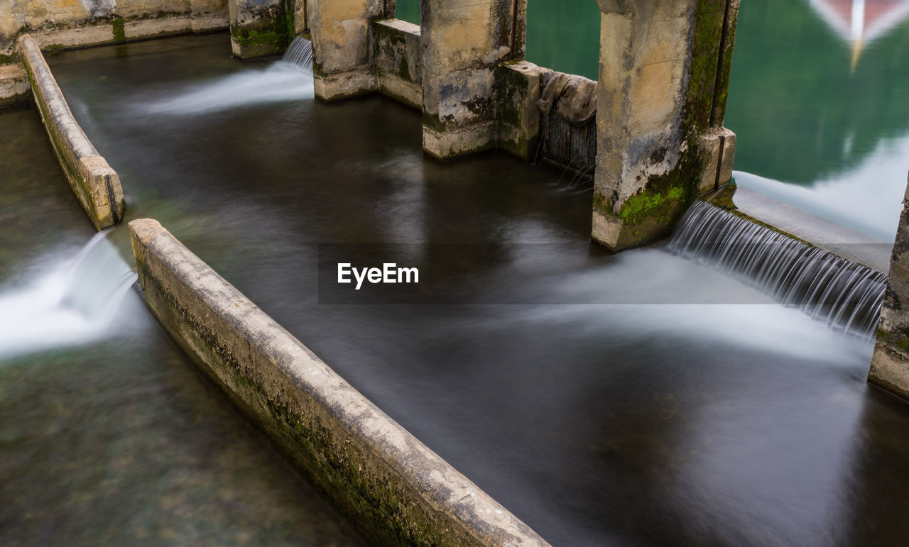 water, no people, river, nature, motion, long exposure, day, high angle view, tree, scenics - nature, beauty in nature, wood - material, flowing water, outdoors, tranquility, plant, wood, flowing