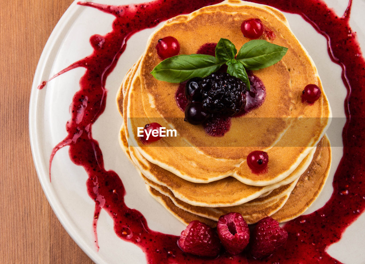 food and drink, food, fruit, berry fruit, sweet, sweet food, dessert, cake, freshness, baked, indulgence, close-up, indoors, plate, ready-to-eat, healthy eating, no people, raspberry, pancake, temptation, garnish, herb, tart - dessert, ripe