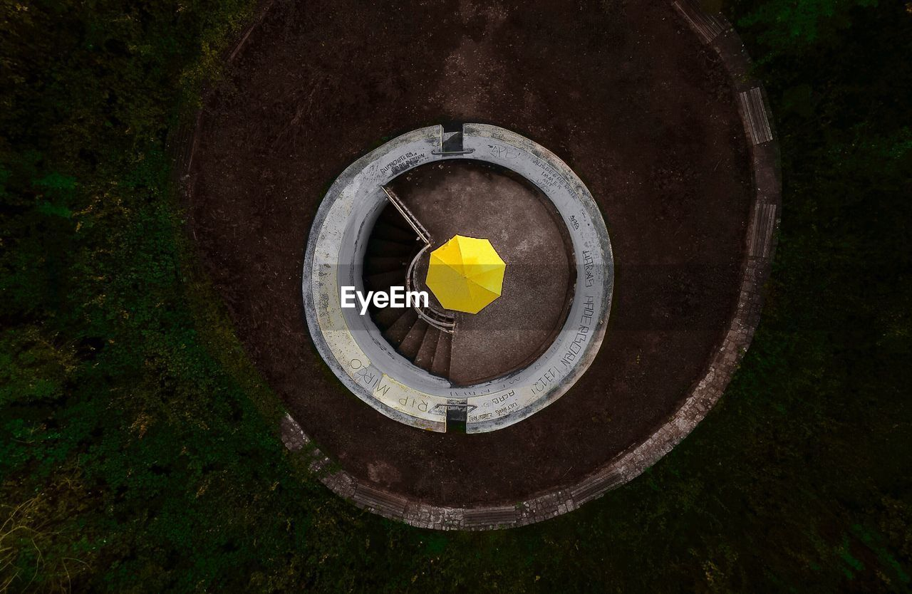 circle, high angle view, no people, day, outdoors, nature