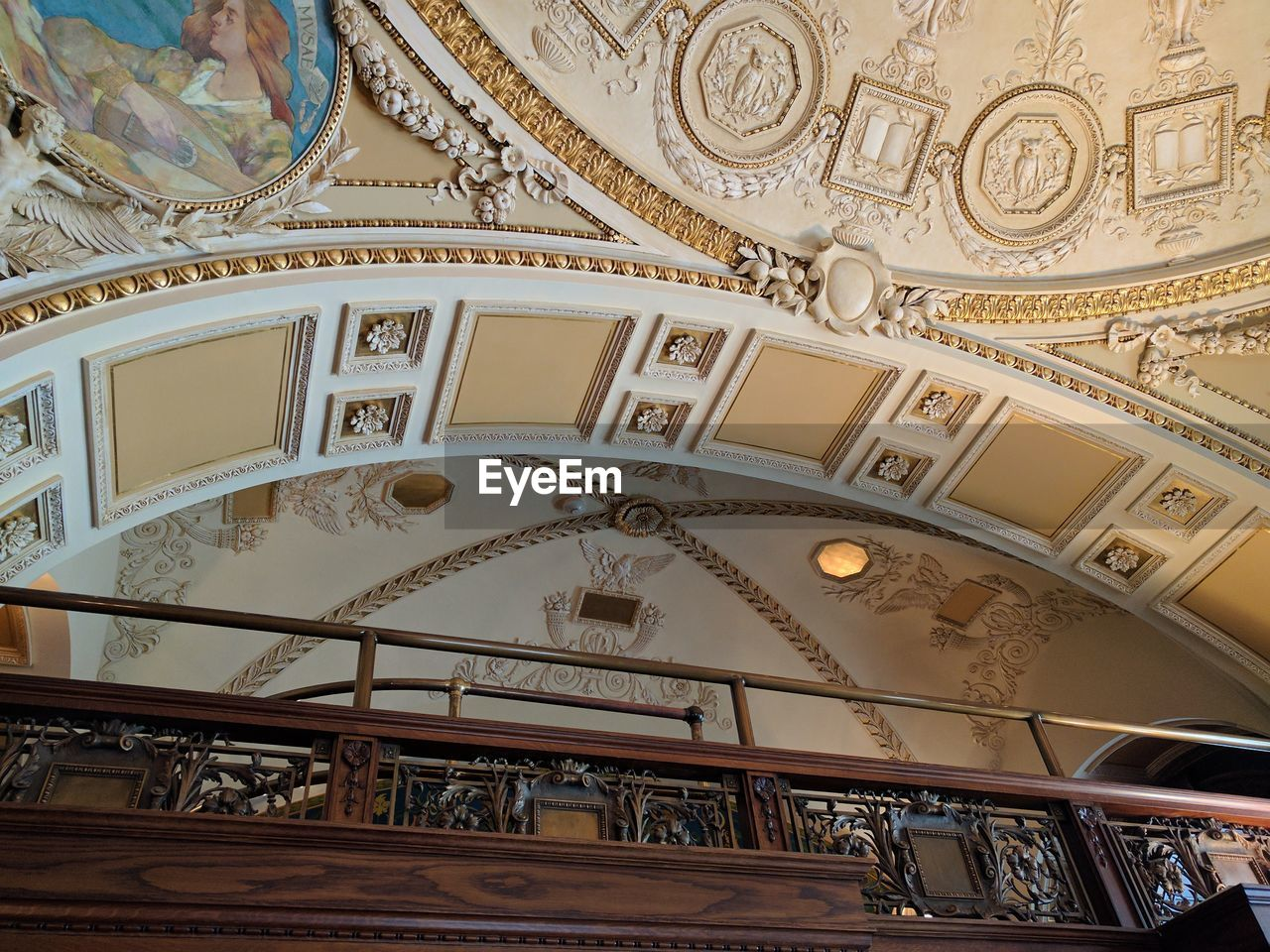 architecture, indoors, low angle view, built structure, ceiling, ornate, dome, no people, architectural design, close-up, day