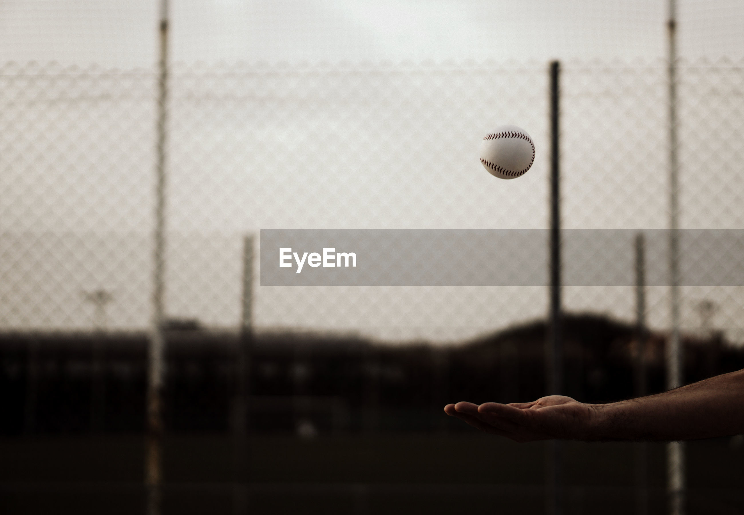 Close-up of hand holding ball hanging on field