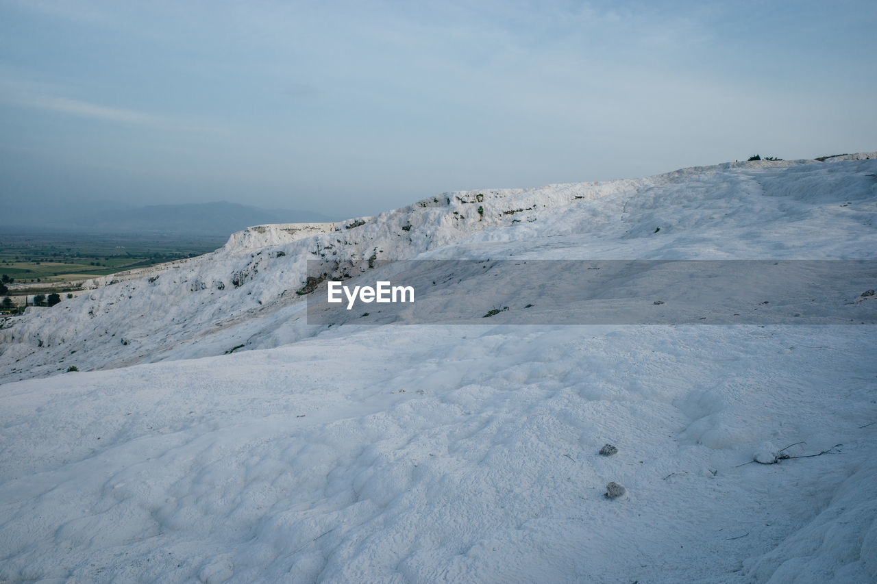 SNOW COVERED LAND AGAINST SKY