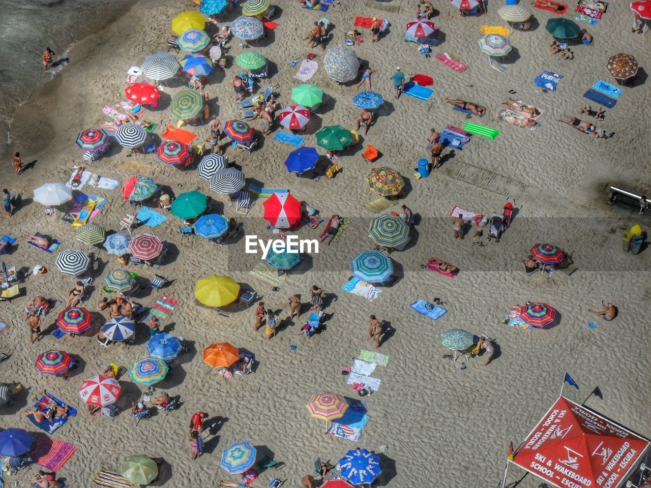 High Angle View Of Canopies On Beach