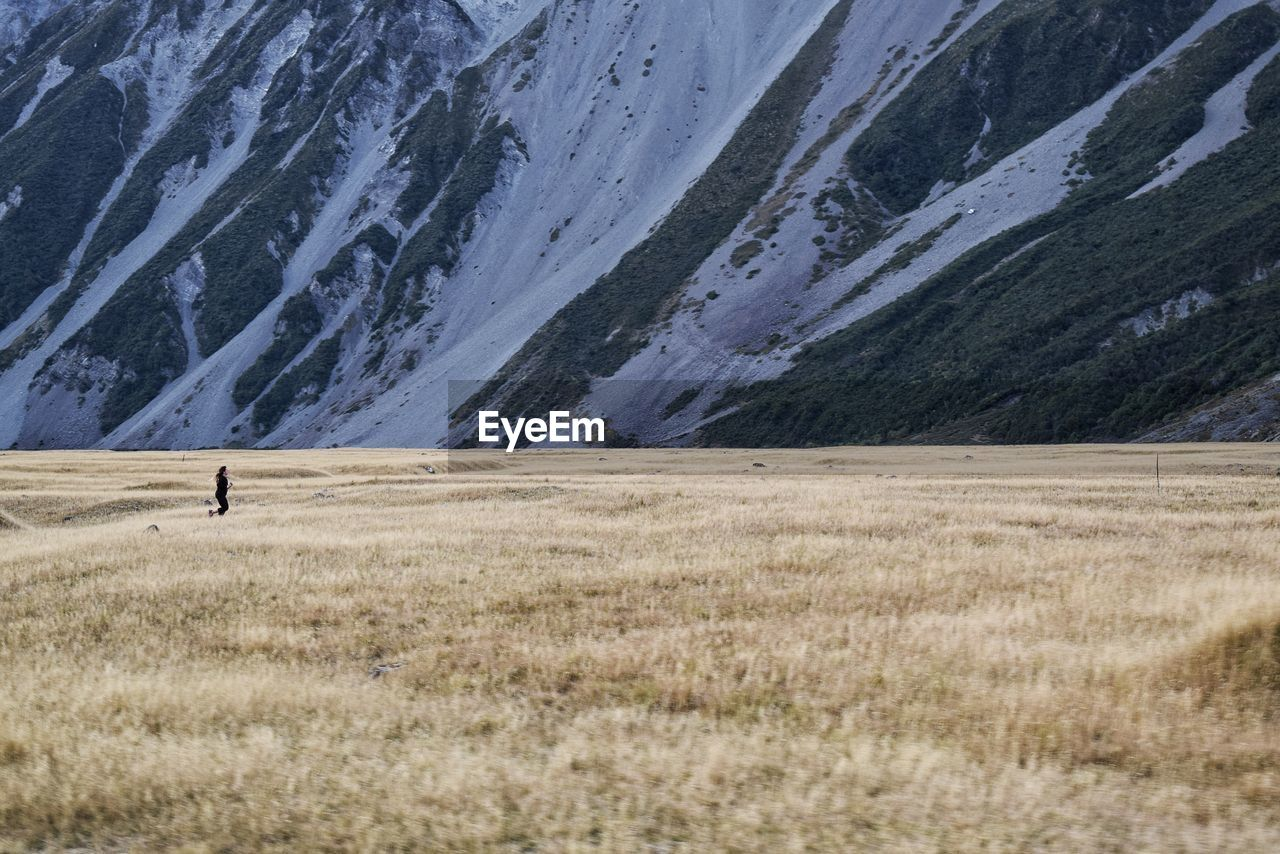 Person Running On Grassy Field Before Mountain