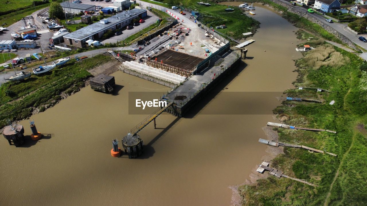 Drone shot of edf project to upgrade combwich wharf docks
