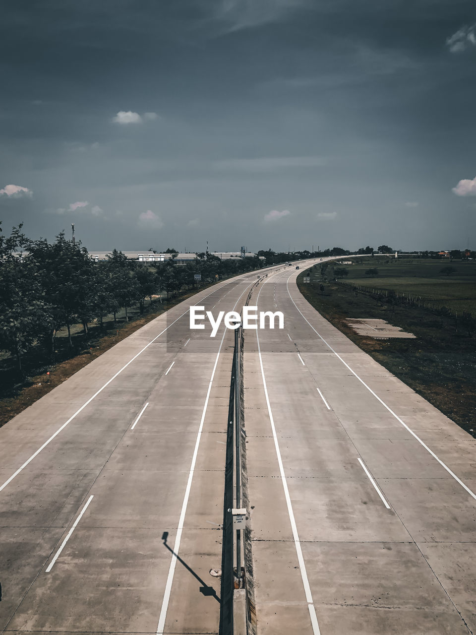 High angle view of empty road against sky