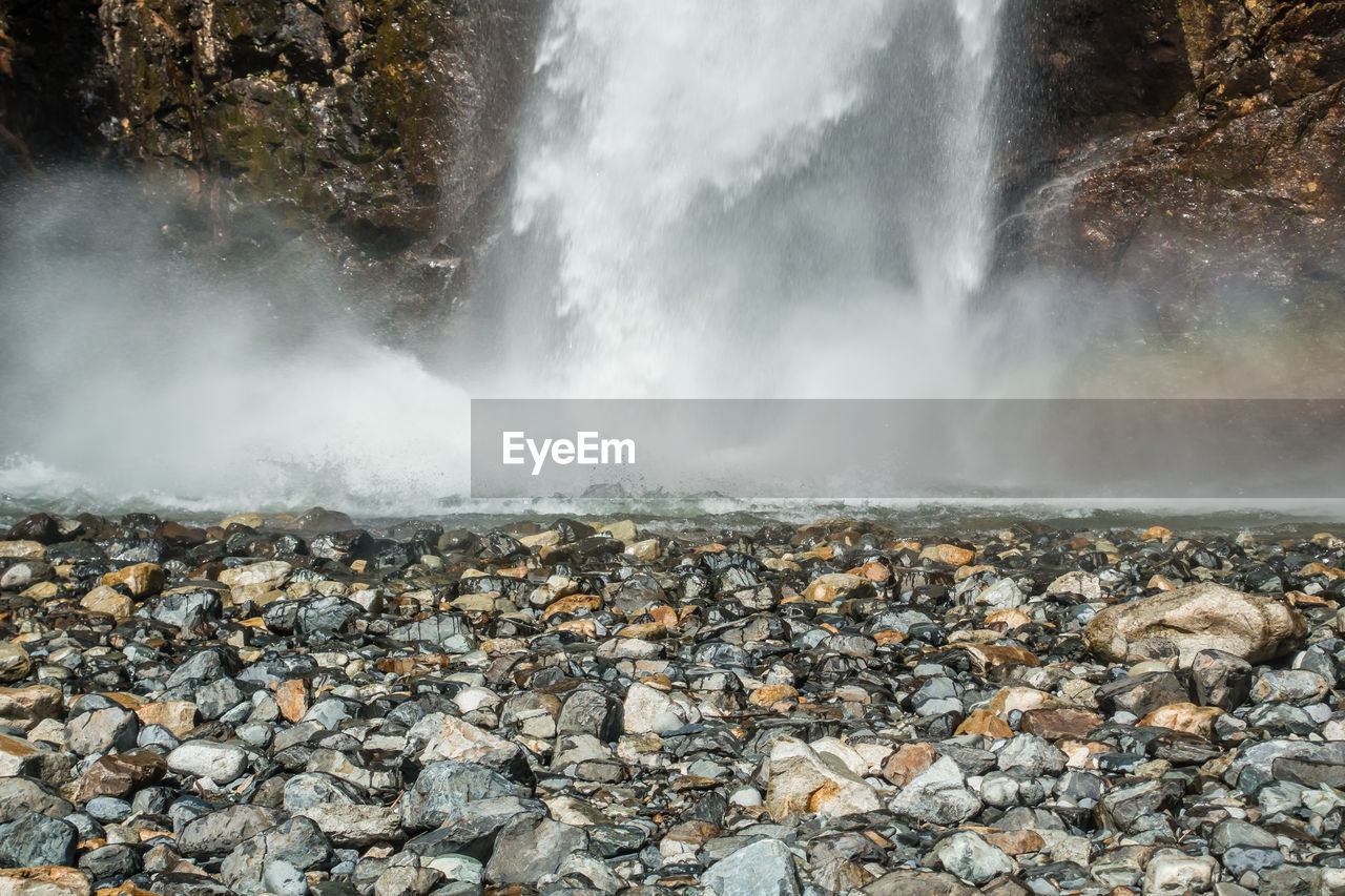 rock, water, solid, no people, beauty in nature, motion, rock - object, day, long exposure, power in nature, nature, scenics - nature, land, power, outdoors, sea, non-urban scene, stone - object, blurred motion, flowing water, flowing, pebble