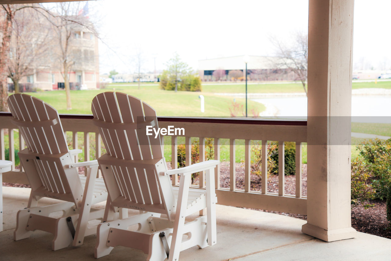 Adirondack chairs at porch