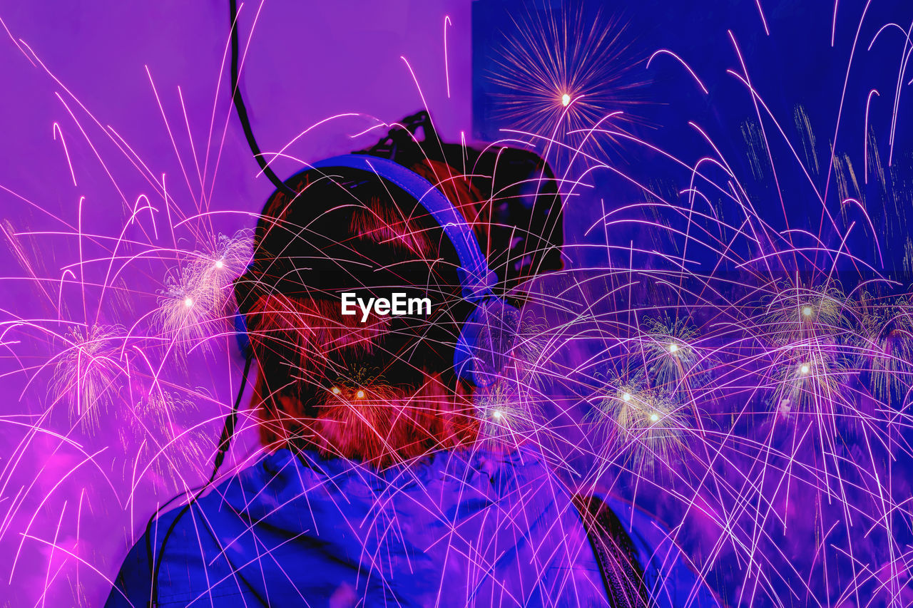 illuminated, motion, night, glowing, long exposure, pattern, connection, technology, no people, multi colored, arts culture and entertainment, light beam, blurred motion, digital composite, communication, celebration, close-up, firework, purple, complexity