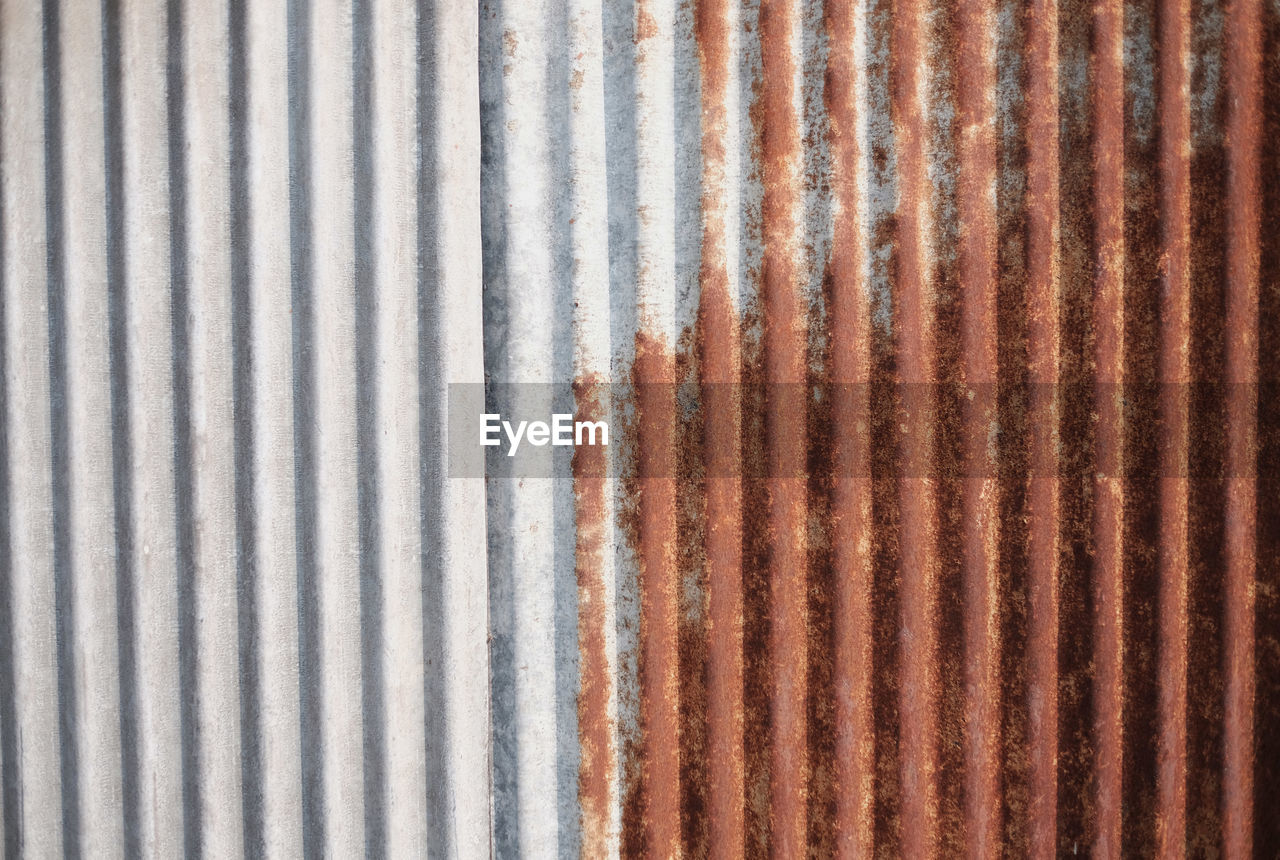 backgrounds, pattern, full frame, no people, textured, metal, corrugated iron, iron, rusty, close-up, corrugated, sheet metal, striped, equipment, abstract, repetition, brown, day, architecture, stained, textured effect