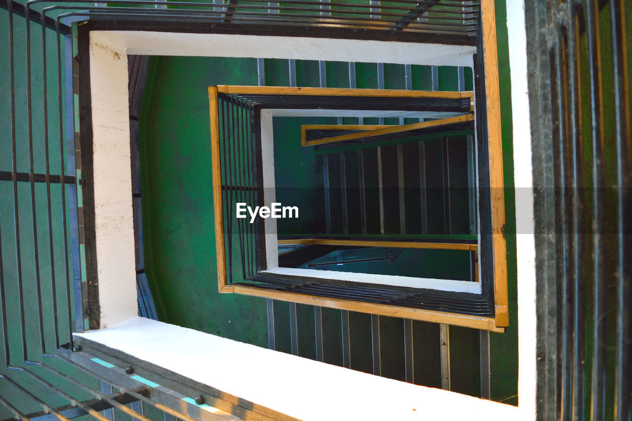 Directly Above View Of Spiral Staircase In Building